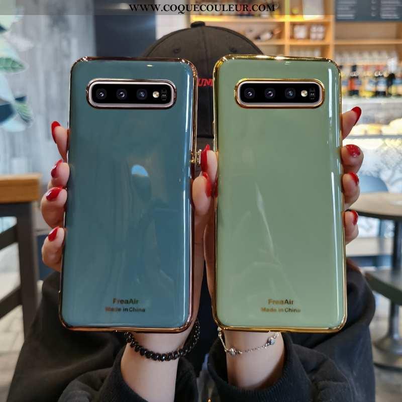 Étui Samsung Galaxy S10+ Protection Vent Silicone, Coque Samsung Galaxy S10+ Ultra Étoile Verte