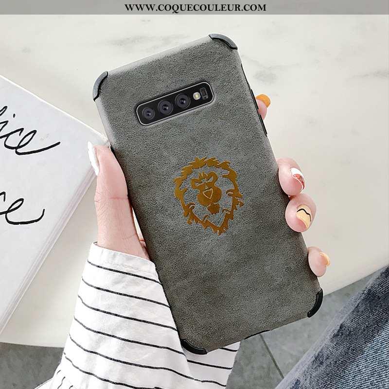 Coque Samsung Galaxy S10+ Mode Étoile Incassable, Housse Samsung Galaxy S10+ Protection Étui Gris