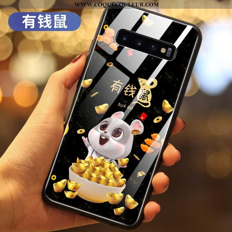 Coque Samsung Galaxy S10+ Protection Nouveau, Housse Samsung Galaxy S10+ Verre Petit Noir