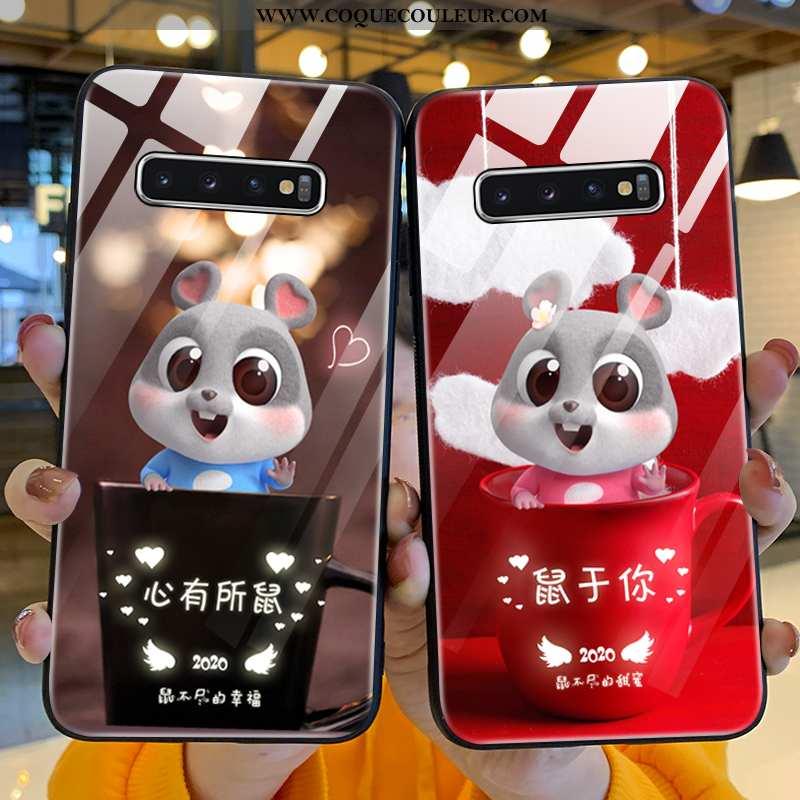 Étui Samsung Galaxy S10+ Protection Net Rouge Coque, Coque Samsung Galaxy S10+ Verre Nouveau