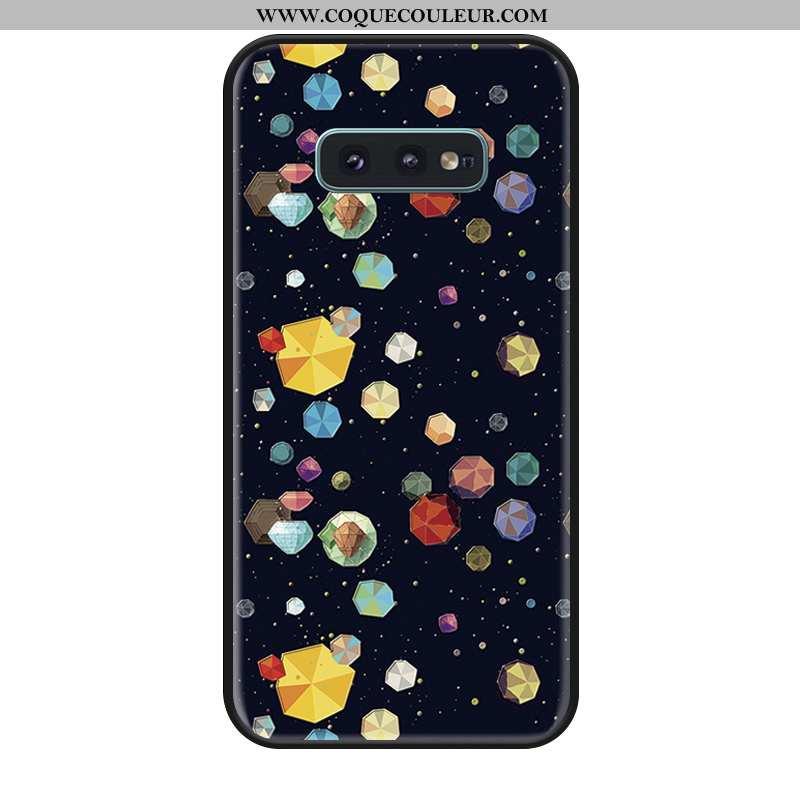 Étui Samsung Galaxy S10e Silicone Étoile Colorée, Coque Samsung Galaxy S10e Incassable Noir