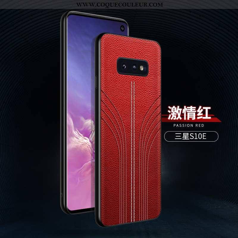 Étui Samsung Galaxy S10e Personnalité Rouge Délavé En Daim, Coque Samsung Galaxy S10e Créatif Ultra
