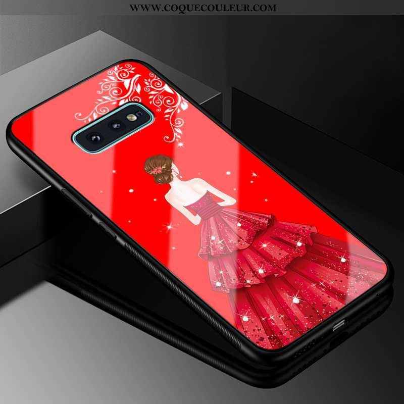 Étui Samsung Galaxy S10e Protection Silicone, Coque Samsung Galaxy S10e Verre Rouge