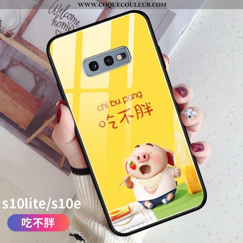 Coque Samsung Galaxy S10e Légère Étoile Petit, Housse Samsung Galaxy S10e Fluide Doux Jaune