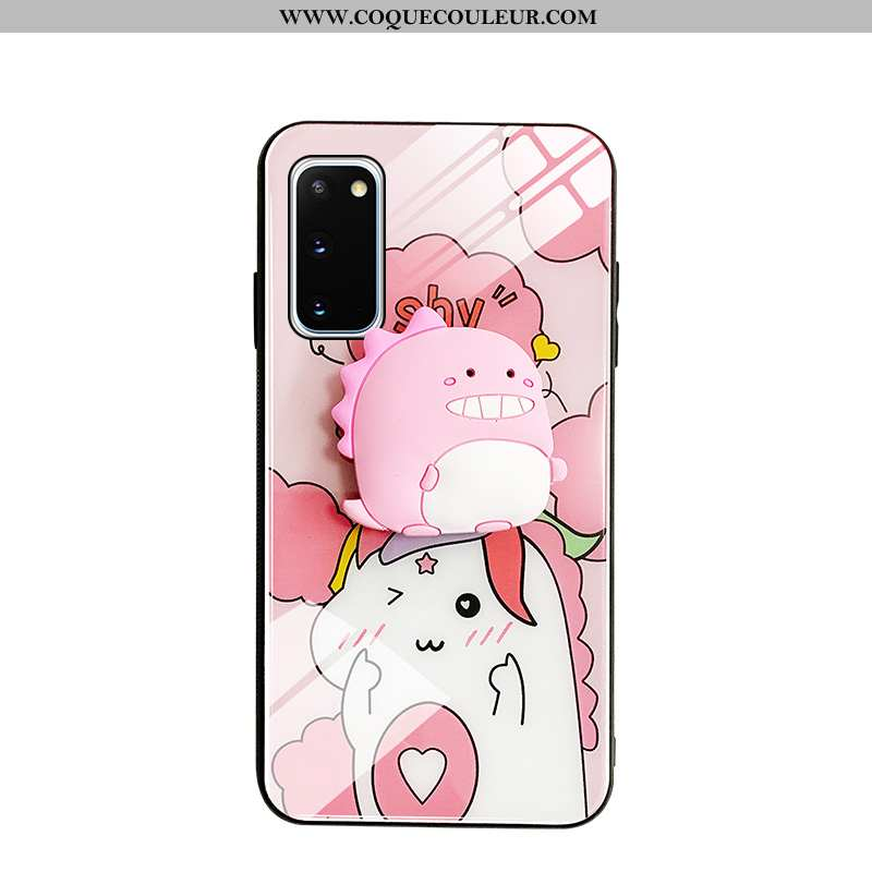 Coque Samsung Galaxy S20 Verre Téléphone Portable Amoureux, Housse Samsung Galaxy S20 Dessin Animé P