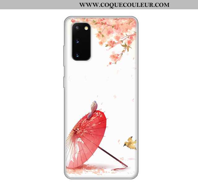 Étui Samsung Galaxy S20 Transparent Vent Étui, Coque Samsung Galaxy S20 Dessin Animé Blanc Blanche
