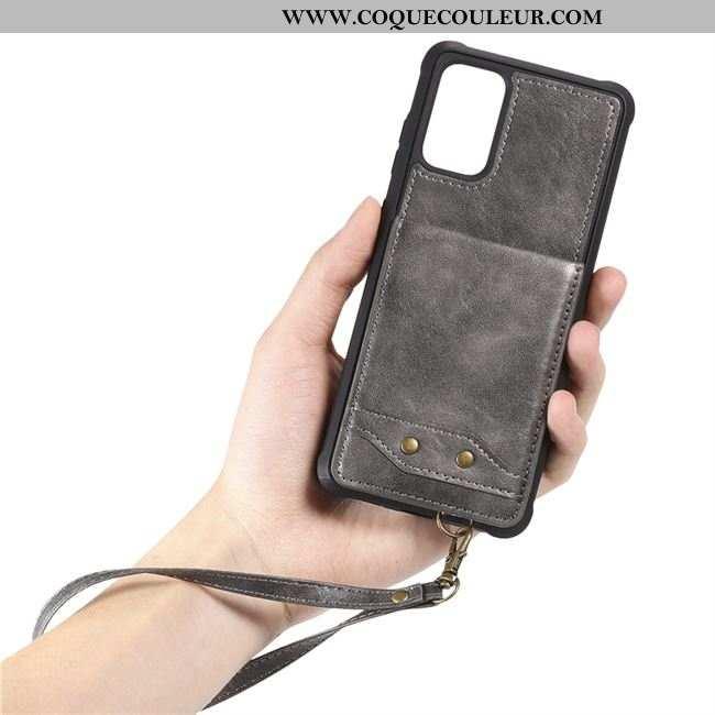 Coque Samsung Galaxy S20 Cuir Sac Carte Étoile, Housse Samsung Galaxy S20 Ornements Suspendus Gris