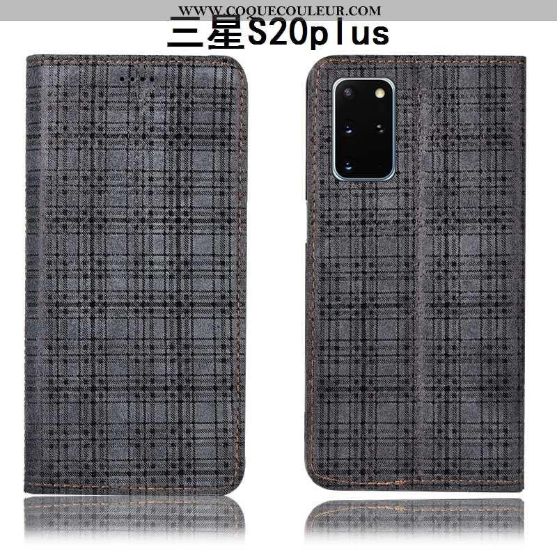 Housse Samsung Galaxy S20+ Cuir Véritable Étoile Housse, Étui Samsung Galaxy S20+ Protection Gris