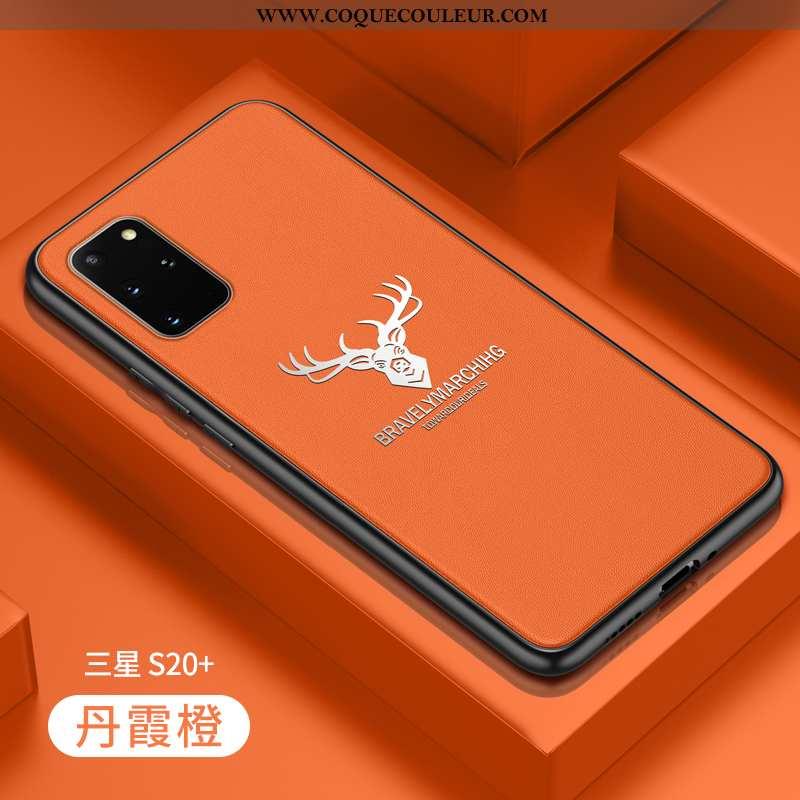 Housse Samsung Galaxy S20+ Cuir Véritable Orange Fluide Doux, Étui Samsung Galaxy S20+ Tendance Prot