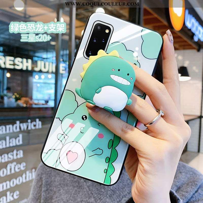 Étui Samsung Galaxy S20+ Protection Petit Miroir, Coque Samsung Galaxy S20+ Verre Dragon Verte