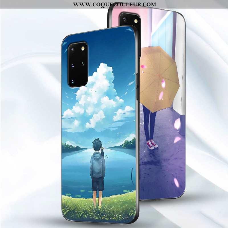 Coque Samsung Galaxy S20+ Créatif Protection Amoureux, Housse Samsung Galaxy S20+ Fluide Doux Bleu