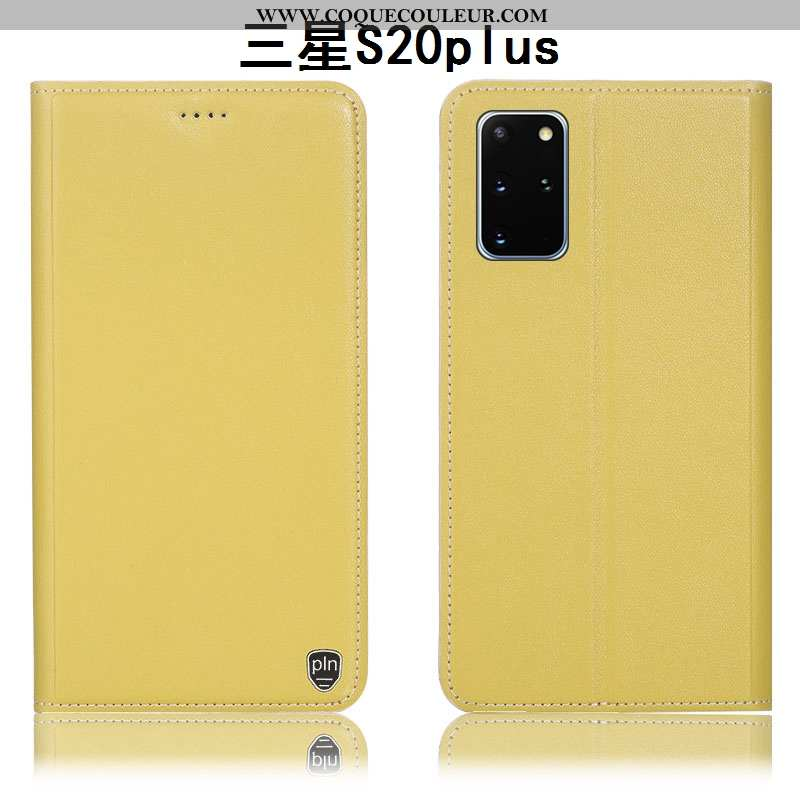 Coque Samsung Galaxy S20+ Protection Jaune Étui, Housse Samsung Galaxy S20+ Cuir Véritable