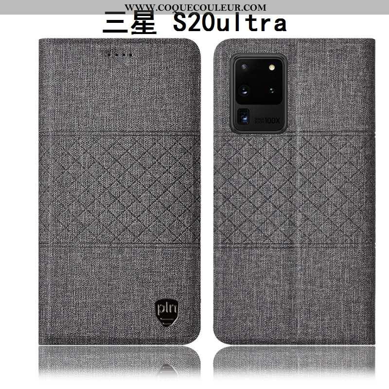 Coque Samsung Galaxy S20 Ultra Cuir Étui Étoile, Housse Samsung Galaxy S20 Ultra Protection Gris