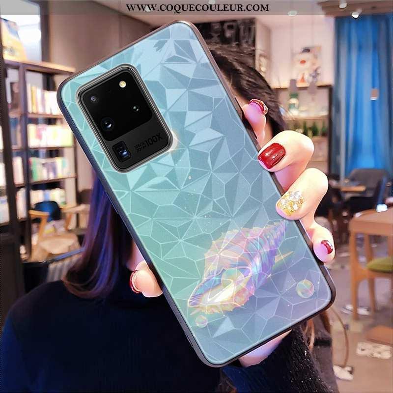 Coque Samsung Galaxy S20 Ultra Modèle Fleurie Étoile Bleu, Housse Samsung Galaxy S20 Ultra Petit Tél