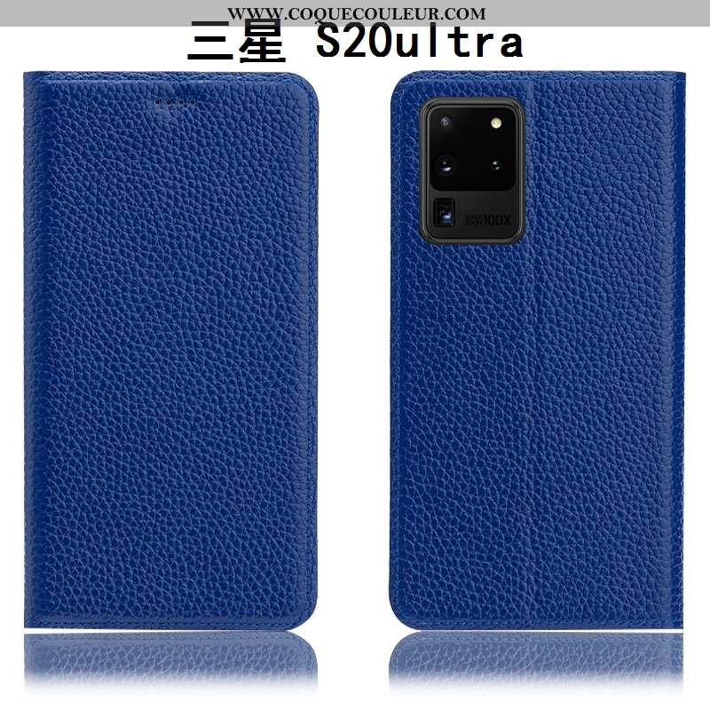 Housse Samsung Galaxy S20 Ultra Protection Coque Litchi, Étui Samsung Galaxy S20 Ultra Cuir Véritabl