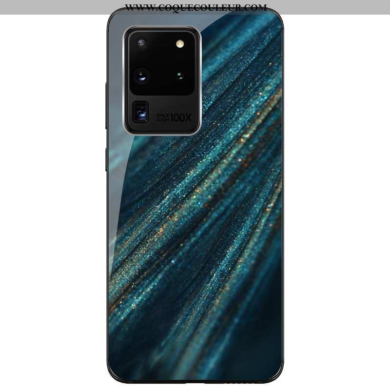Housse Samsung Galaxy S20 Ultra Verre Coque Silicone Étui Samsung Galaxy S20 Ultra Personnalité Bleu