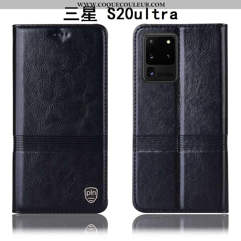 Coque Samsung Galaxy S20 Ultra Protection Noir Étui, Housse Samsung Galaxy S20 Ultra Cuir Véritable