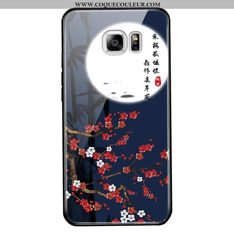 Coque Samsung Galaxy S6 Edge Protection Bleu Marin Dessin Animé, Housse Samsung Galaxy S6 Edge Verre
