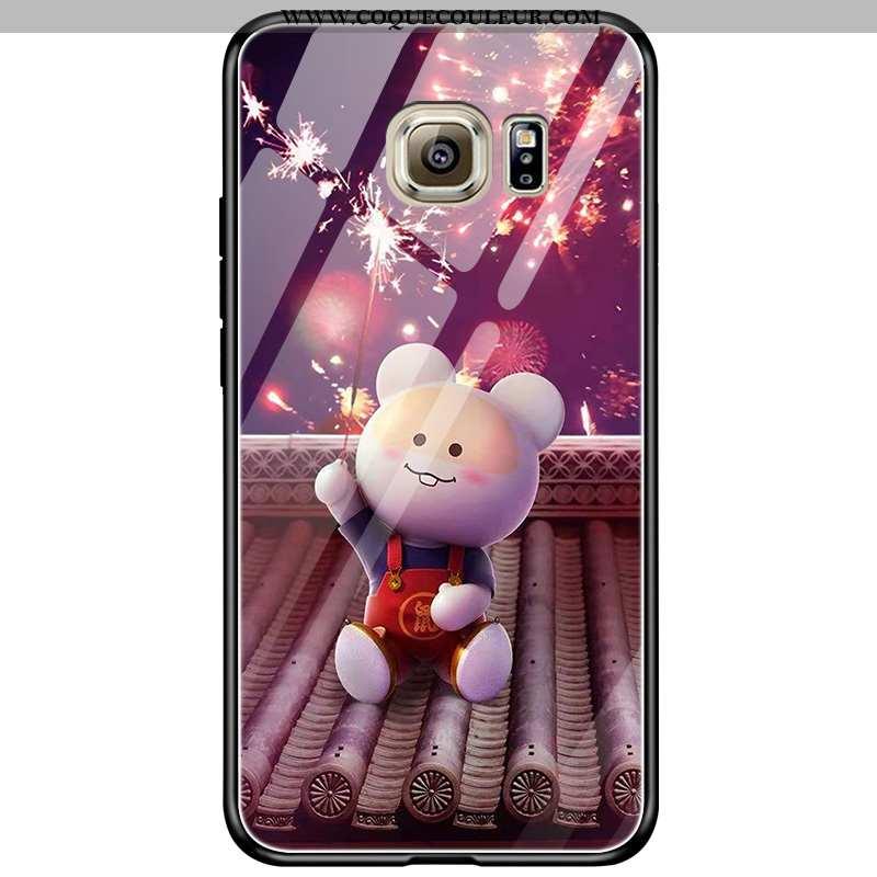 Housse Samsung Galaxy S6 Edge Verre Étui Incassable, Samsung Galaxy S6 Edge Dessin Animé Violet