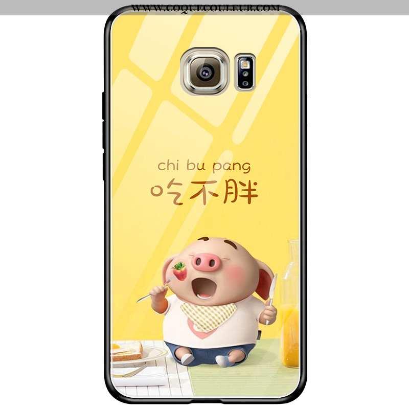 Étui Samsung Galaxy S6 Edge Dessin Animé Verre Étoile, Coque Samsung Galaxy S6 Edge Charmant Jaune
