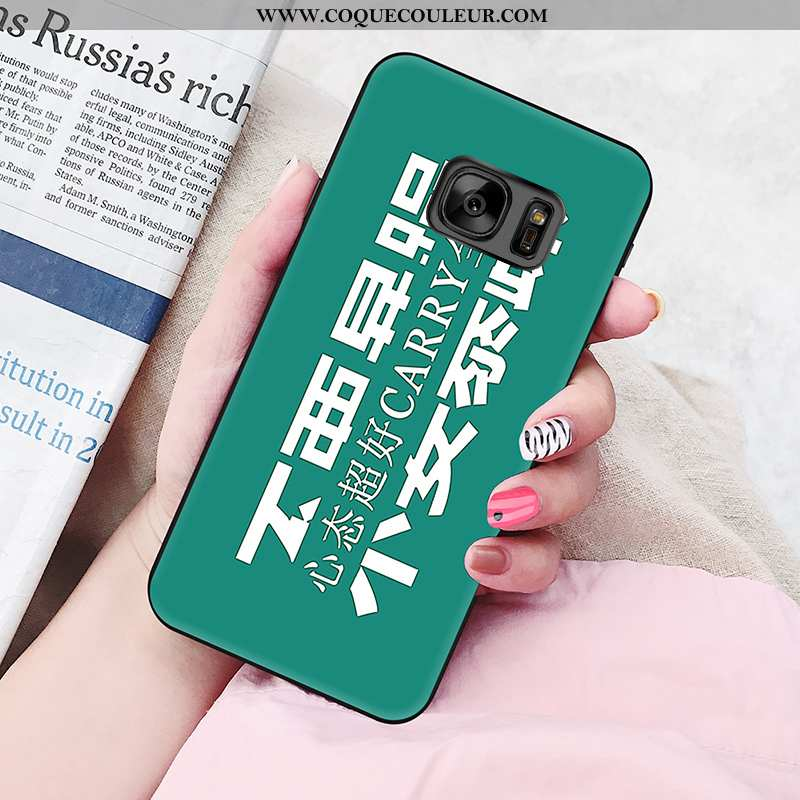 Étui Samsung Galaxy S6 Edge Personnalité Vert Amoureux, Coque Samsung Galaxy S6 Edge Fluide Doux Ver