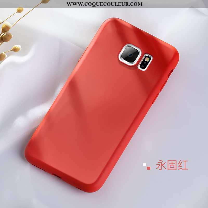 Étui Samsung Galaxy S6 Edge Légère Protection Simple, Coque Samsung Galaxy S6 Edge Fluide Doux Rouge
