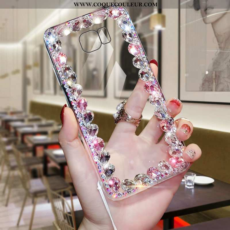Étui Samsung Galaxy S6 Edge Protection Strass Téléphone Portable, Coque Samsung Galaxy S6 Edge Trans