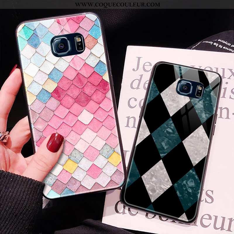 Coque Samsung Galaxy S6 Edge Verre Incassable Étoile, Housse Samsung Galaxy S6 Edge Or Rose