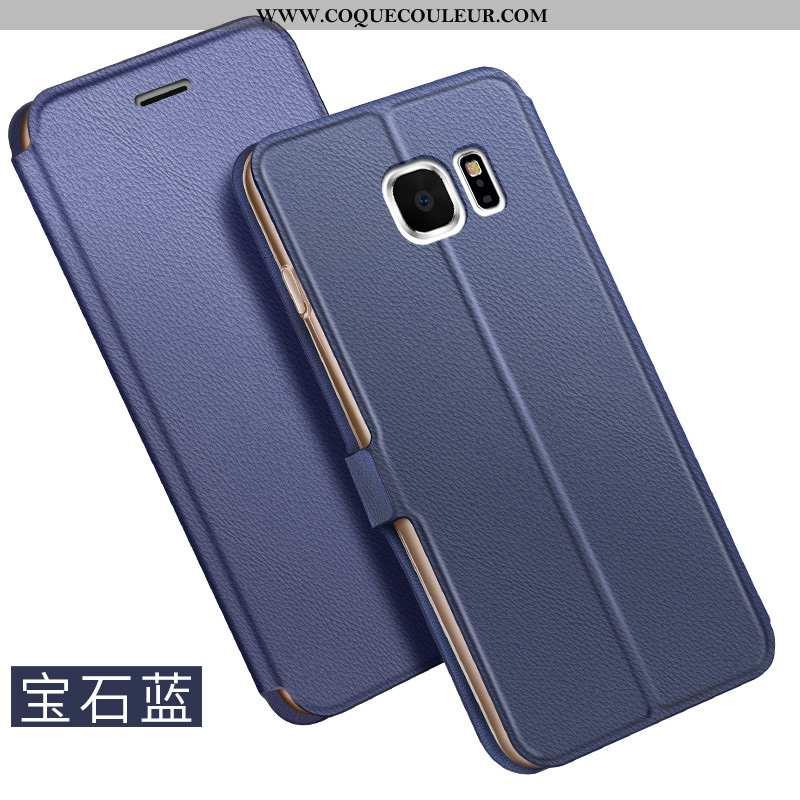 Étui Samsung Galaxy S6 Cuir Business Housse, Coque Samsung Galaxy S6 Bleu