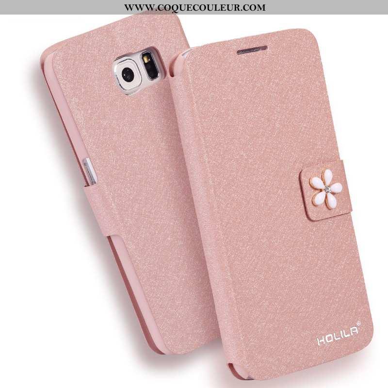 Étui Samsung Galaxy S6 Tendance Étoile Housse, Coque Samsung Galaxy S6 Cuir Téléphone Portable Rose