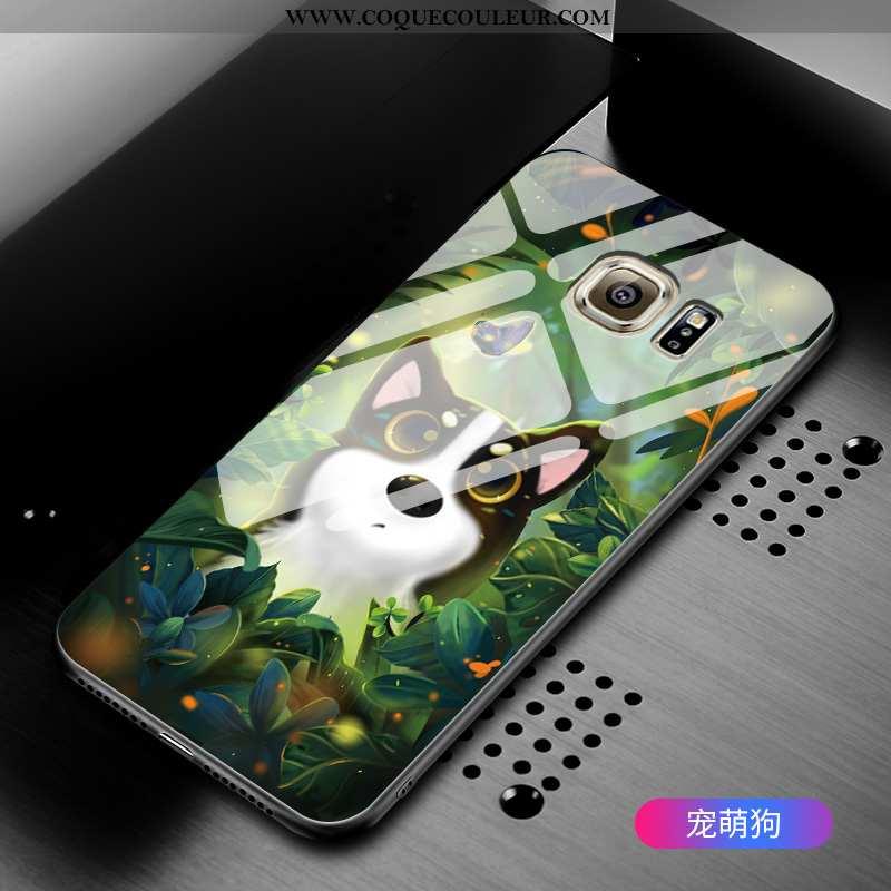 Coque Samsung Galaxy S6 Protection Étoile Vert, Housse Samsung Galaxy S6 Verre Étui Verte