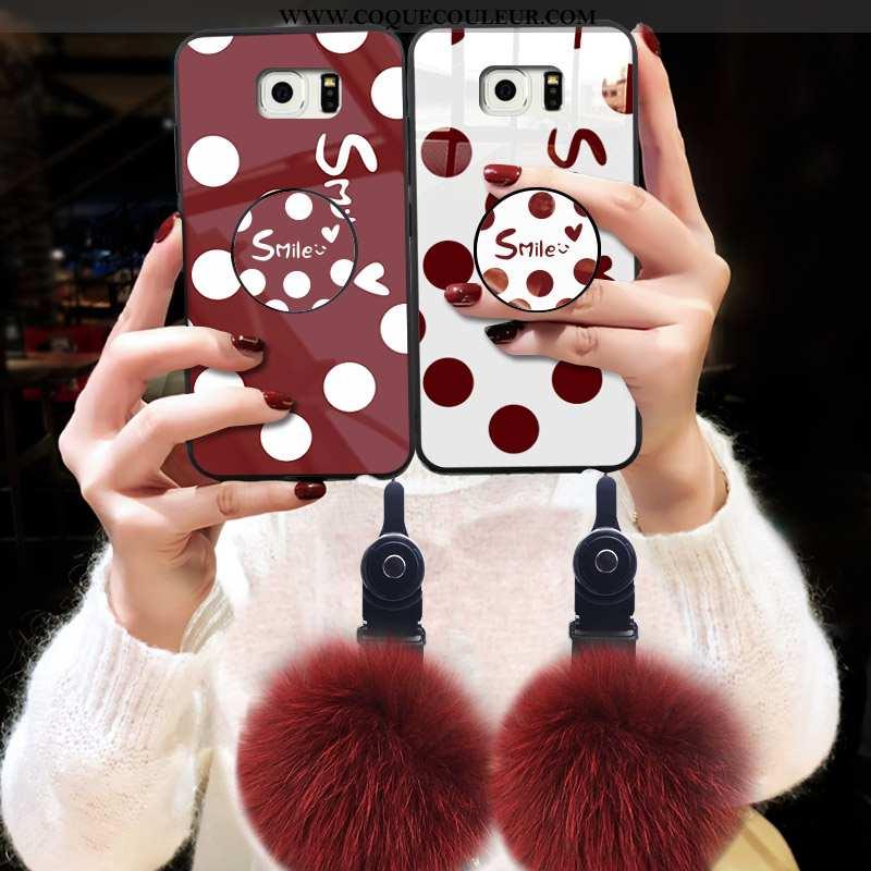 Coque Samsung Galaxy S6 Tendance Pompon, Housse Samsung Galaxy S6 Verre Rouge