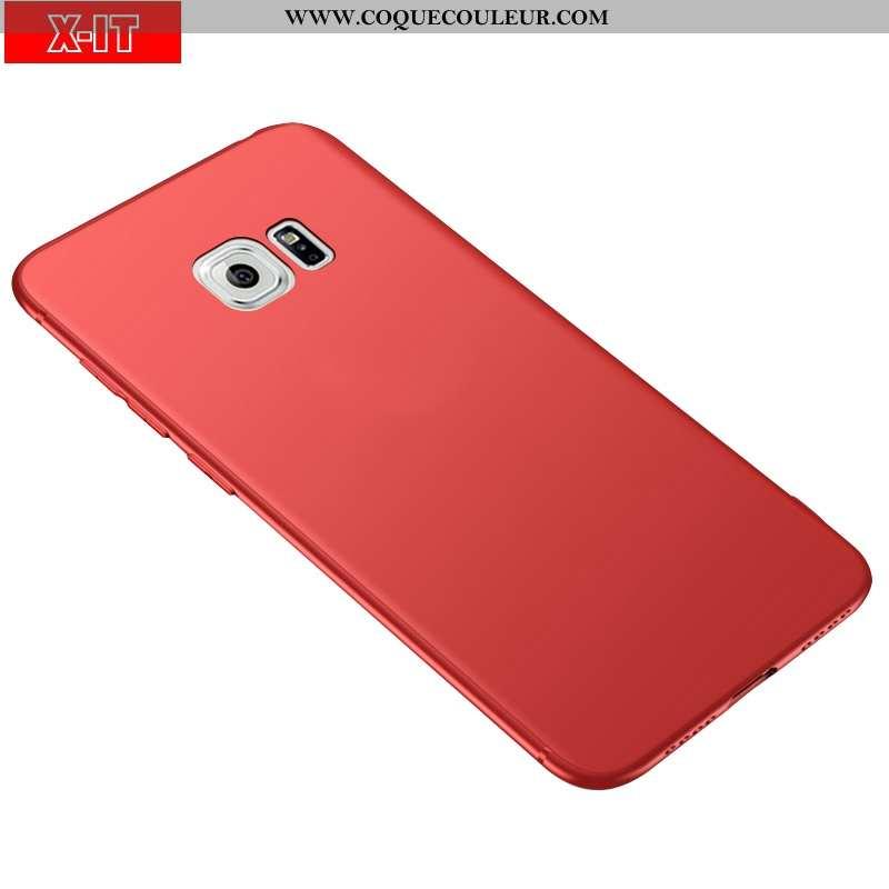 Coque Samsung Galaxy S6 Protection Rouge Étui, Housse Samsung Galaxy S6 Délavé En Daim Téléphone Por