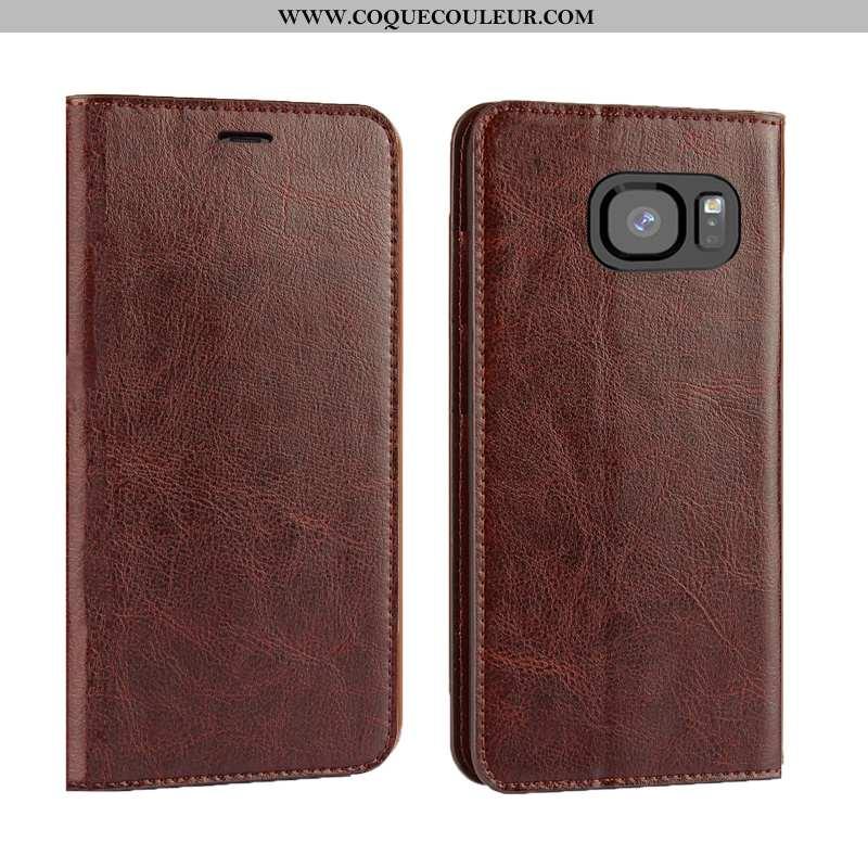 Coque Samsung Galaxy S7 Edge Luxe Qualité Marron, Housse Samsung Galaxy S7 Edge Cuir Véritable Télép
