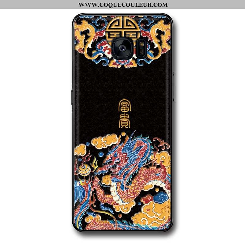 Coque Samsung Galaxy S7 Edge Silicone Gaufrage Coque, Housse Samsung Galaxy S7 Edge Mode Cuir Noir