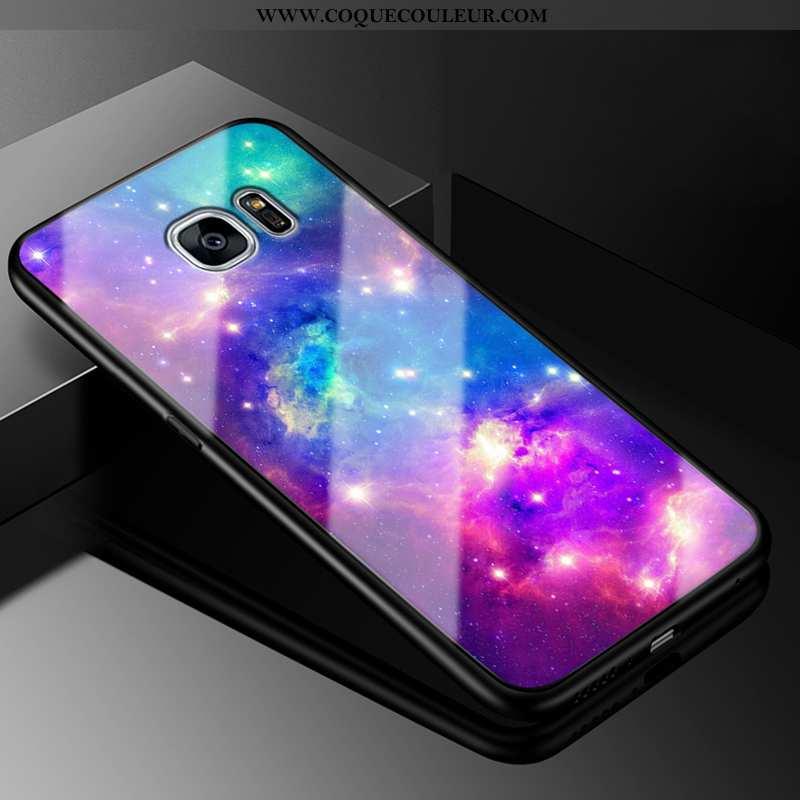 Coque Samsung Galaxy S7 Edge Mode Étoile Violet, Housse Samsung Galaxy S7 Edge Protection Difficile
