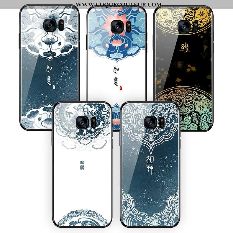 Coque Samsung Galaxy S7 Edge Verre Étui Fleur, Housse Samsung Galaxy S7 Edge Fluide Doux Style Chino