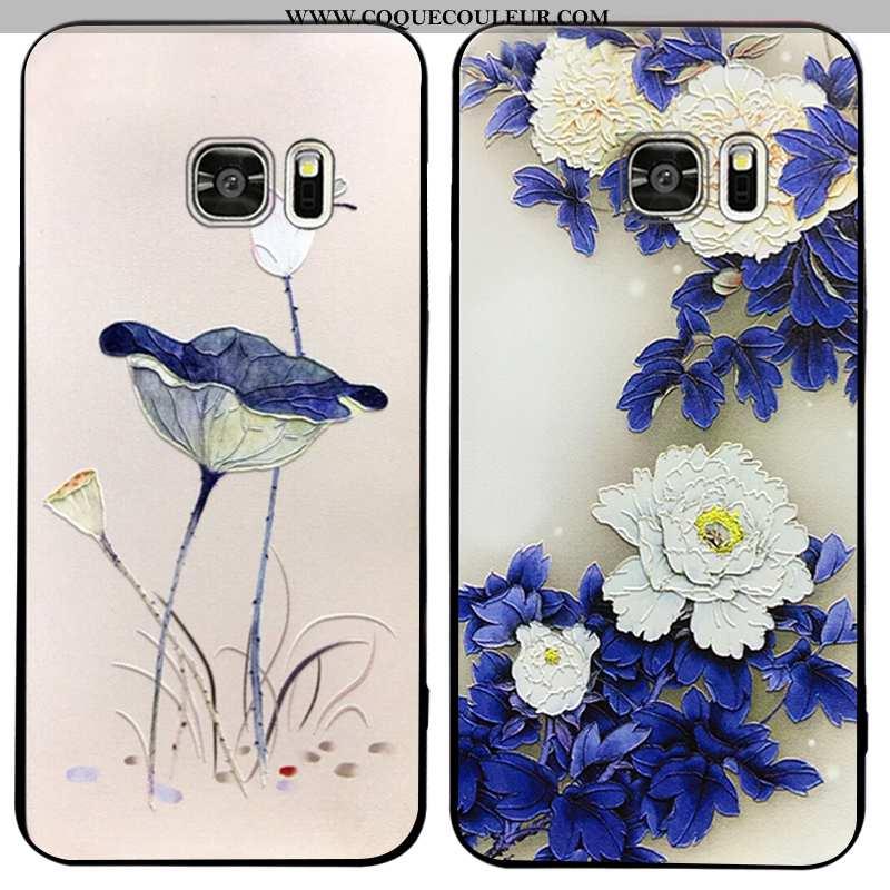 Housse Samsung Galaxy S7 Fluide Doux Coque Incassable, Étui Samsung Galaxy S7 Silicone Style Chinois
