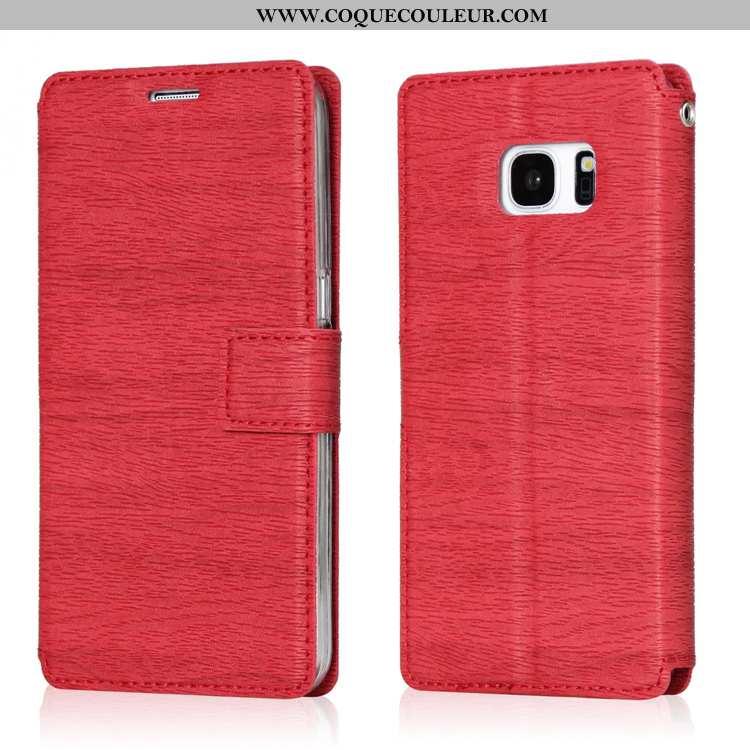 Coque Samsung Galaxy S7 Cuir Étui Coque, Housse Samsung Galaxy S7 Téléphone Portable Étoile Rouge