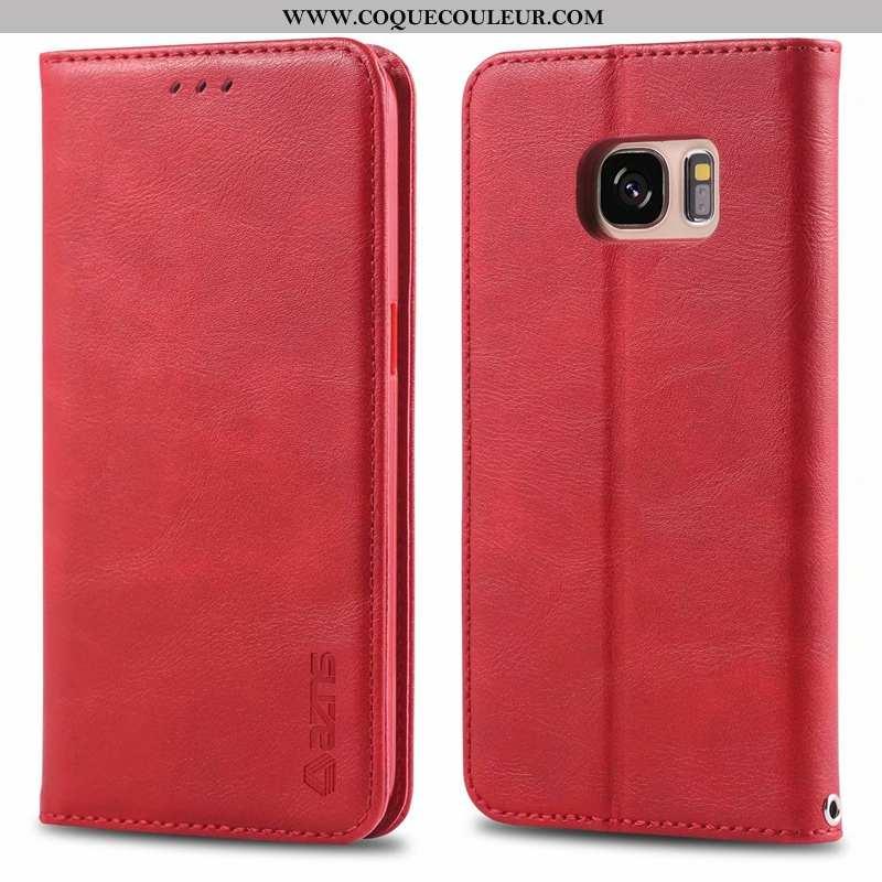 Housse Samsung Galaxy S7 Cuir Luxe Coque, Étui Samsung Galaxy S7 Fluide Doux Incassable Rouge