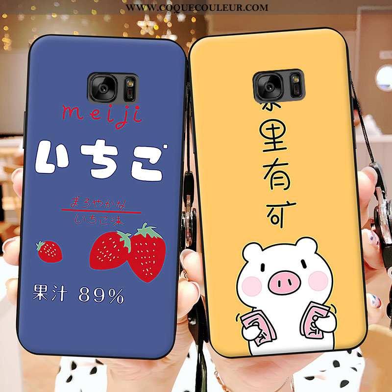 Housse Samsung Galaxy S7 Délavé En Daim Téléphone Portable Nouveau, Étui Samsung Galaxy S7 Dessin An