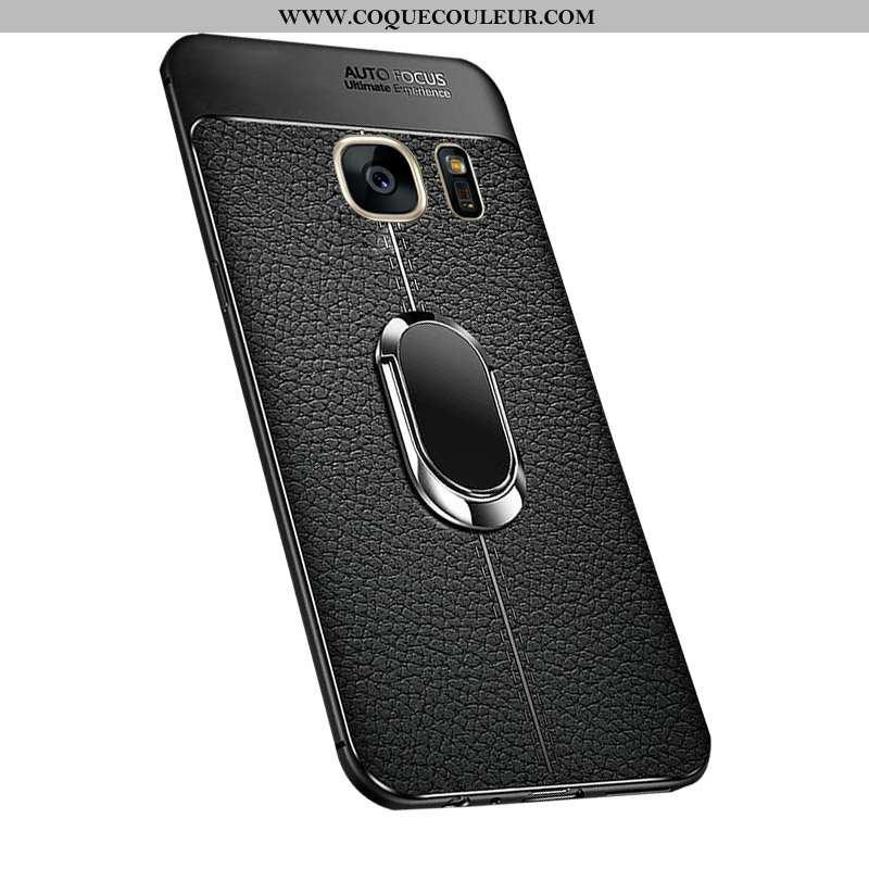 Coque Samsung Galaxy S7 Modèle Fleurie Litchi Noir, Housse Samsung Galaxy S7 Silicone Étoile Noir