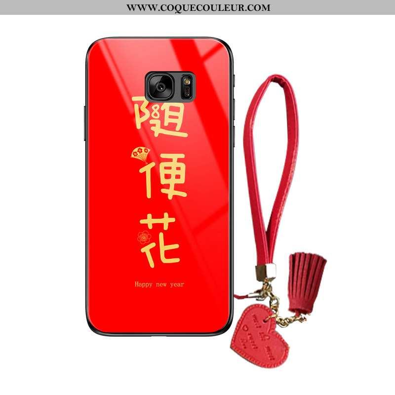 Housse Samsung Galaxy S7 Créatif Étui Verre, Samsung Galaxy S7 Tendance Rouge