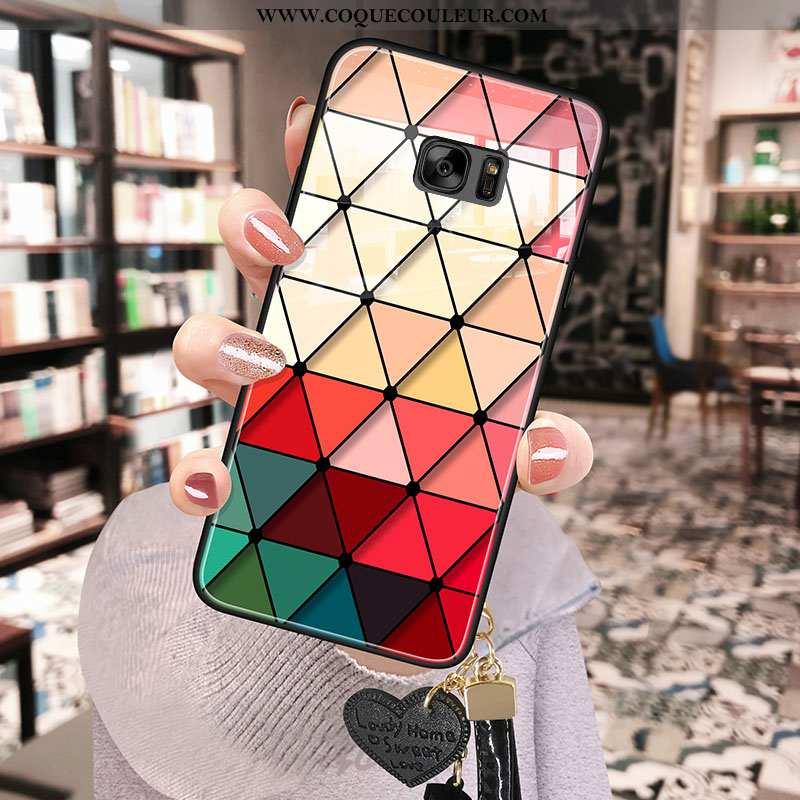 Housse Samsung Galaxy S7 Verre Étoile Net Rouge, Étui Samsung Galaxy S7 Fluide Doux Bordure Rouge