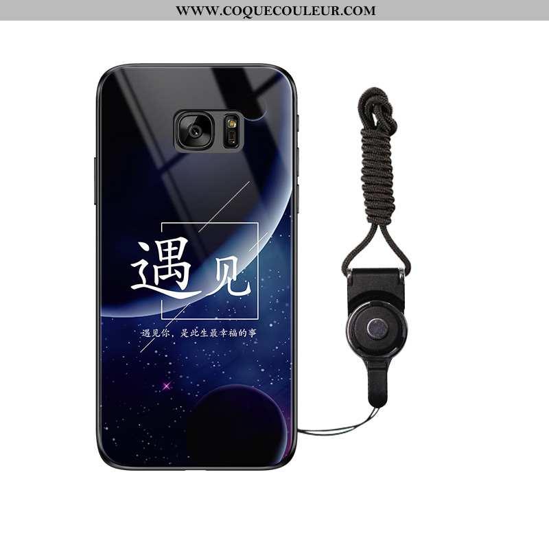 Housse Samsung Galaxy S7 Tendance Coque Étoile, Étui Samsung Galaxy S7 Verre Noir