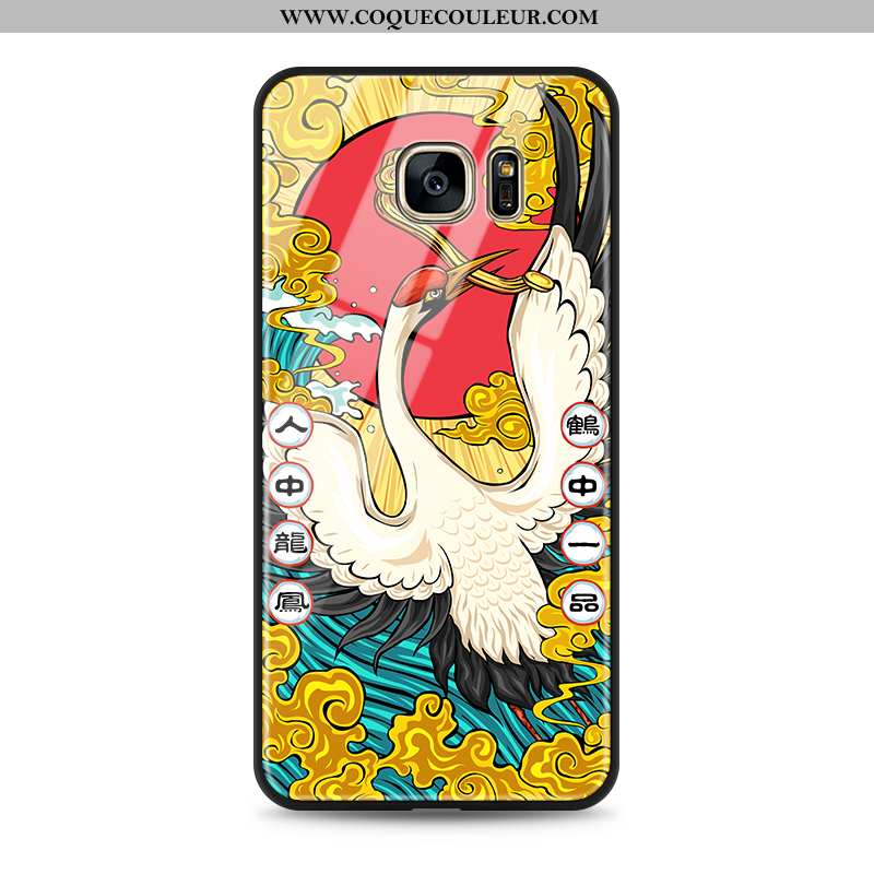 Étui Samsung Galaxy S7 Créatif Verre Étui, Coque Samsung Galaxy S7 Tendance Incassable Jaune