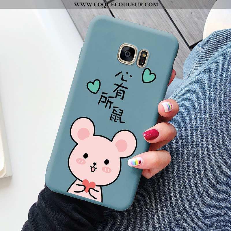 Housse Samsung Galaxy S7 Délavé En Daim Bleu Tout Compris, Étui Samsung Galaxy S7 Personnalité Amour