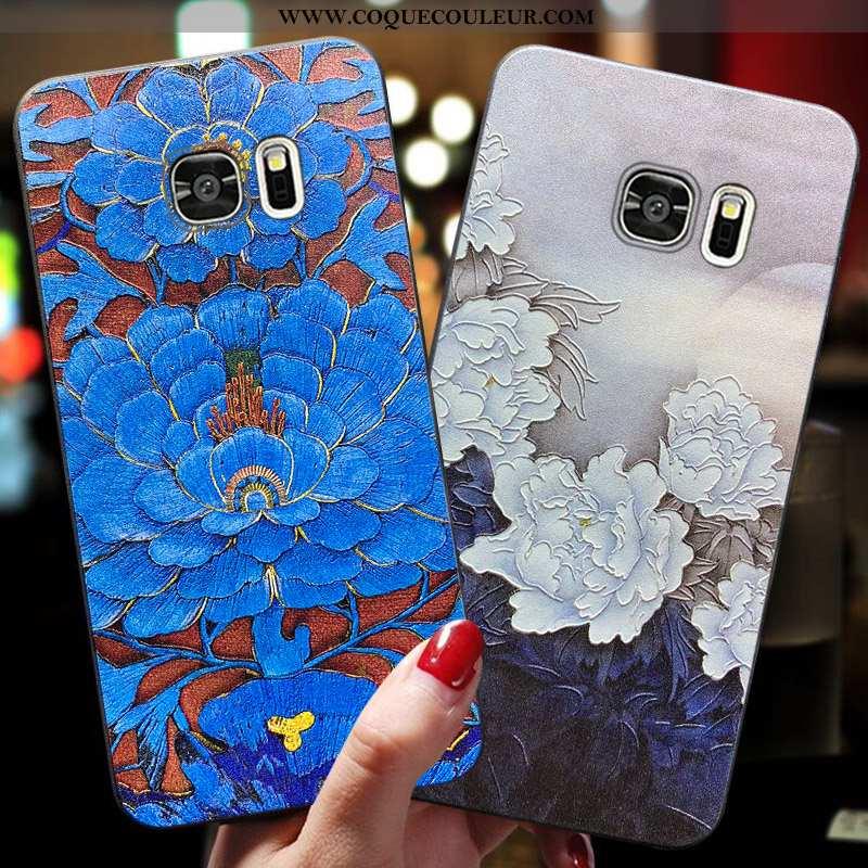 Housse Samsung Galaxy S7 Délavé En Daim Bleu Étui, Étui Samsung Galaxy S7 Fluide Doux Incassable