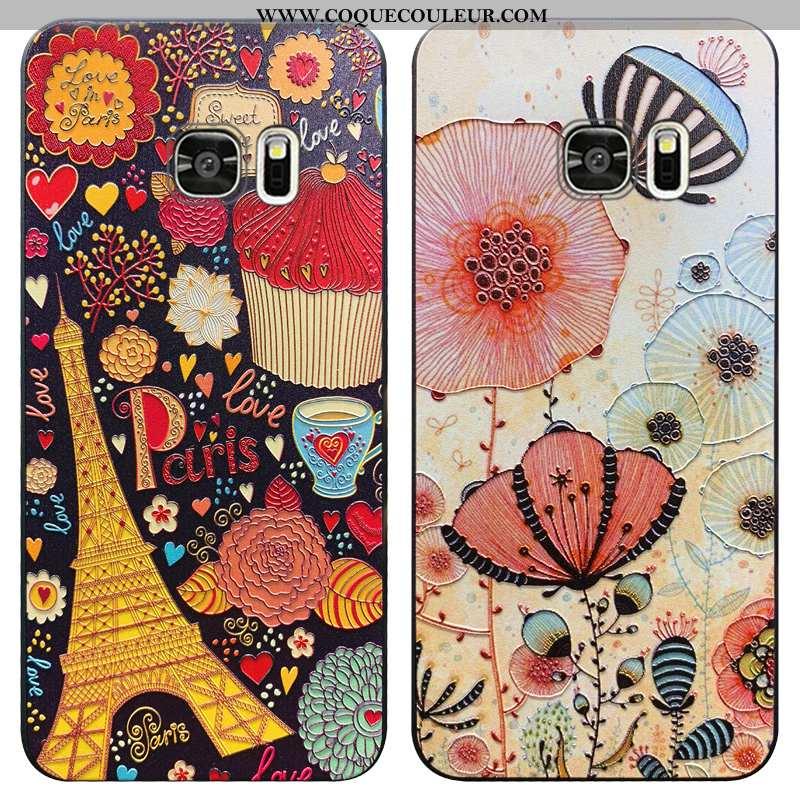 Coque Samsung Galaxy S7 Vintage Fluide Doux Étoile, Housse Samsung Galaxy S7 Tendance Rouge