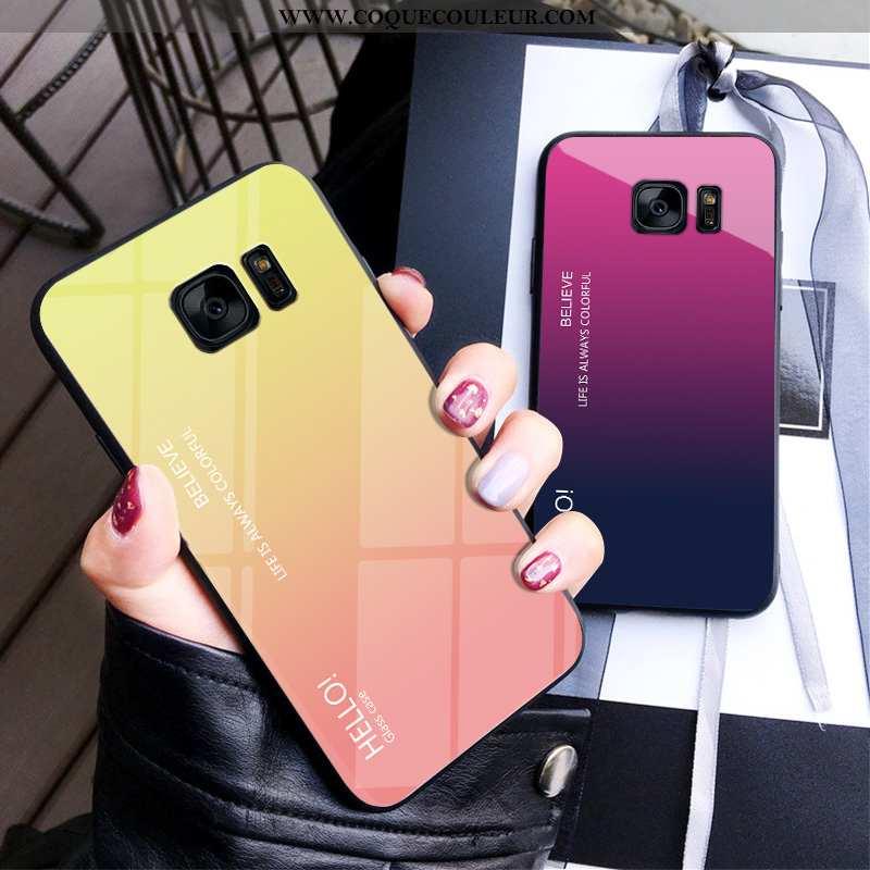 Étui Samsung Galaxy S7 Protection Net Rouge Difficile, Coque Samsung Galaxy S7 Verre Dégradé Jaune